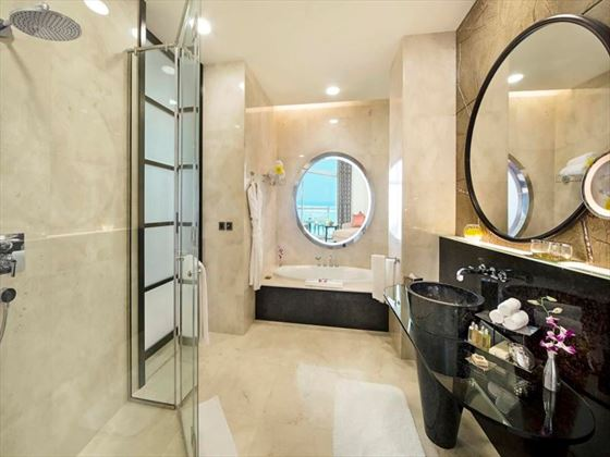 Deluxe Gulf bathroom at Al Raha Beach Hotel