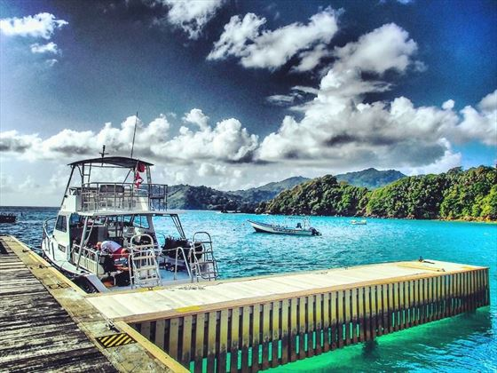 Dive boat prepares to launch, Tobago
