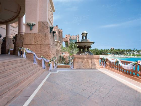 Wedding set up at Dragon's Patio, Atlantis Bahamas