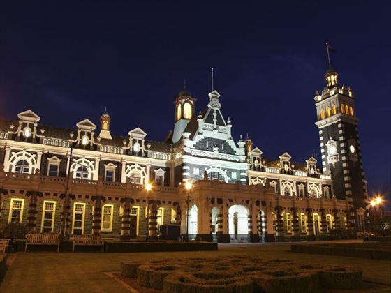 Dunedin Railway Station at night
