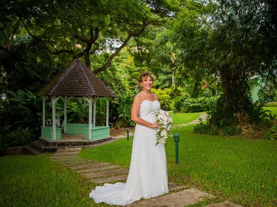 Bride at the garden gazebo, East Winds
