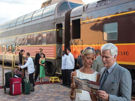 Guests waiting to board the Pullman train
