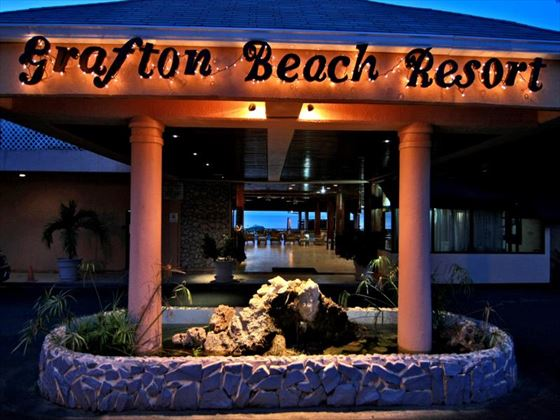 Exterior view of the Grafton Beach Resort at night