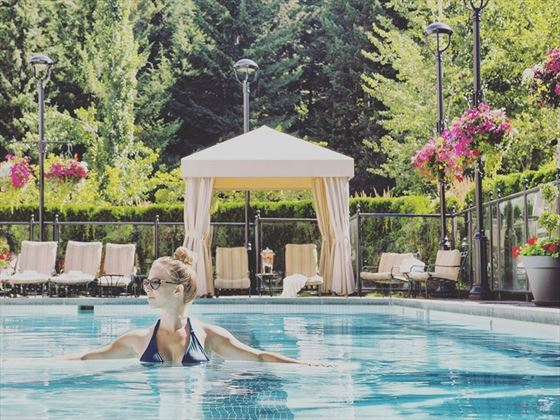 Outdoor pool terrace at Fairmont Chateau Whistler