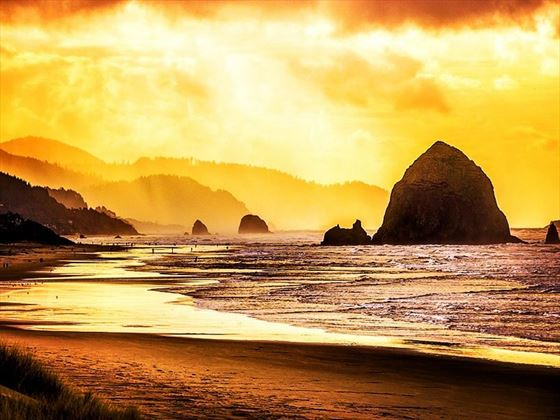 Fiery sunset over Haystack Rock, Cannon Beach