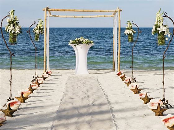 Beach wedding setting at Finest Playa Mujeres