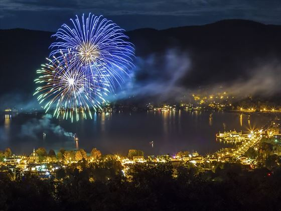 Fireworks over Lake George, New York State