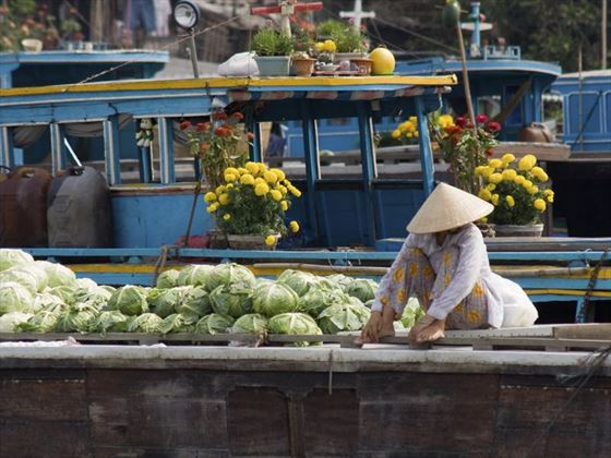 Floating market in Vietnam