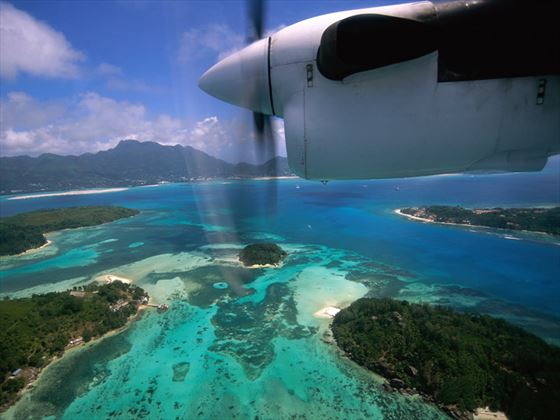 Flying over St Anne Marine Park, Seychelles