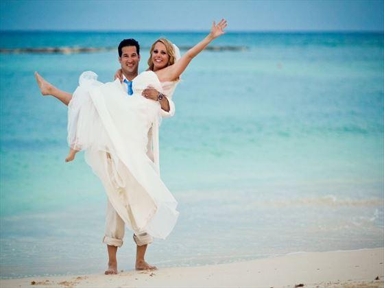 Bride & Groom on the beach at Grand Velas Riviera Maya