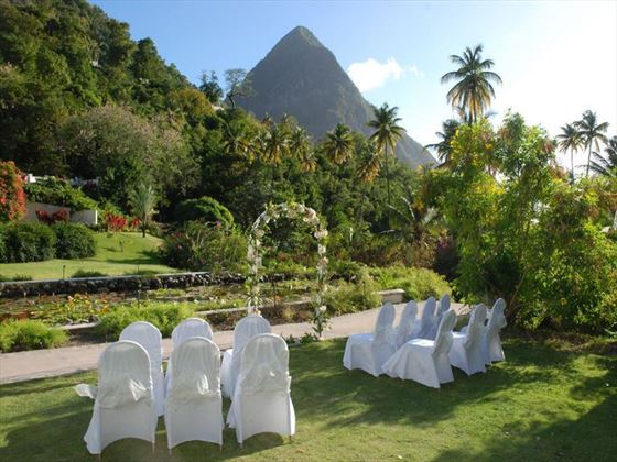 Views of the Pitons from the wedding archway