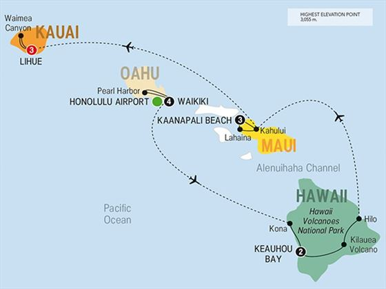 Hawaii Four Island Adventure route