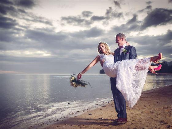 Heritage Awali beach bride & groom