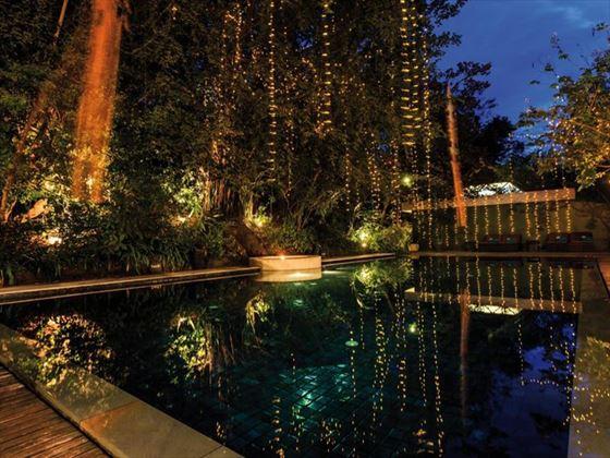 Pool by night, Heritage Suites, Siem Reap