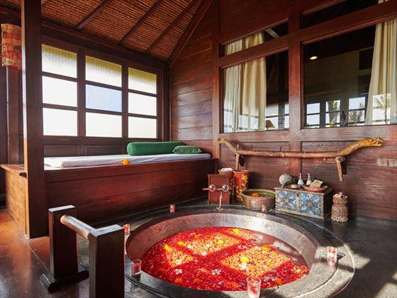 Rejang Suite bathroom at Hotel Tugu Bali, Canggu Beach