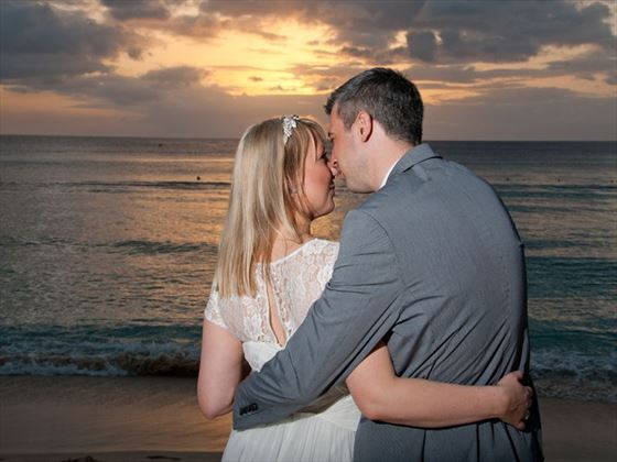 Bride & Groom at sunset, Barbados