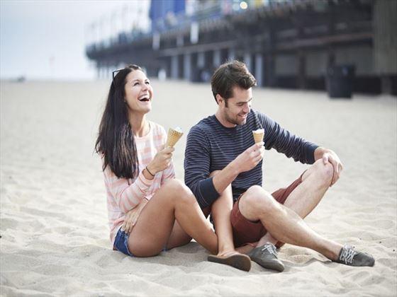 Eating ice cream at Santa Monica Pier