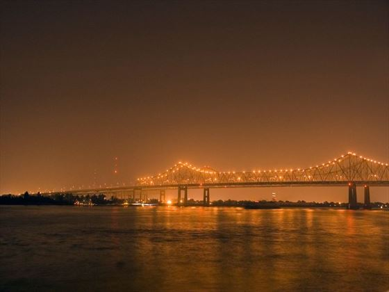 Illuminated bridge on the Mississippi River, New Orleans