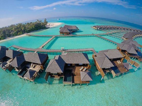 The Sun Siyam Iru Fushi Infinity Water Villa Aeial View