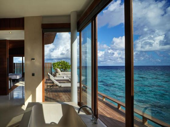 Interior view of a Park Water Villa at Park Hyatt Hadahaa Resort