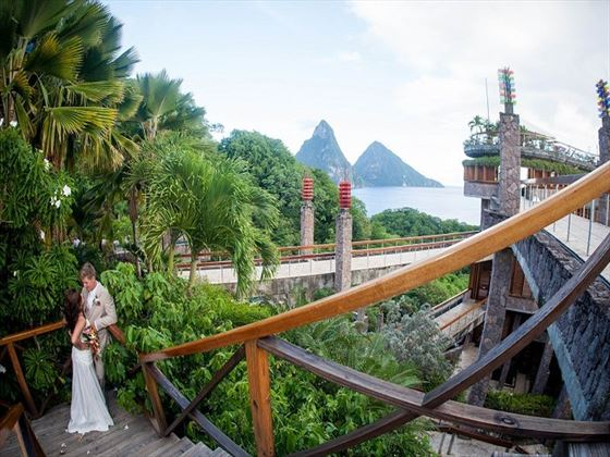 Wedding couple at Jade Mountain