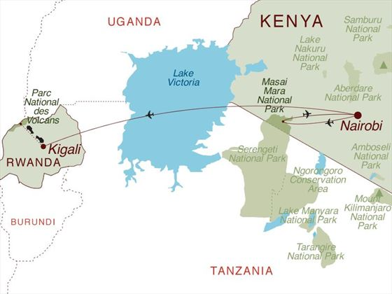 Kenya's Big Five and Rwanda's Gorillas Map