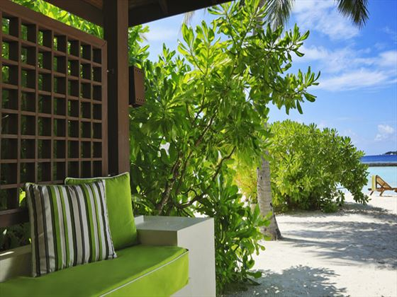 Kurumba Becahfront Deluxe Bungalow outdoor seating