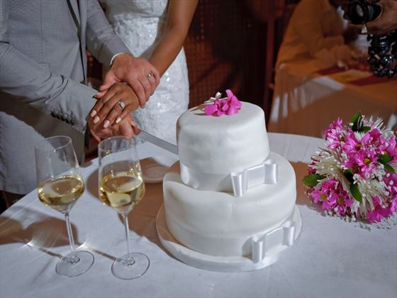 Wedding cake cutting at the Ladera Resort