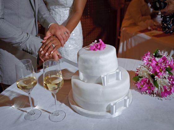 Wedding cake cutting at the Ladera Resort