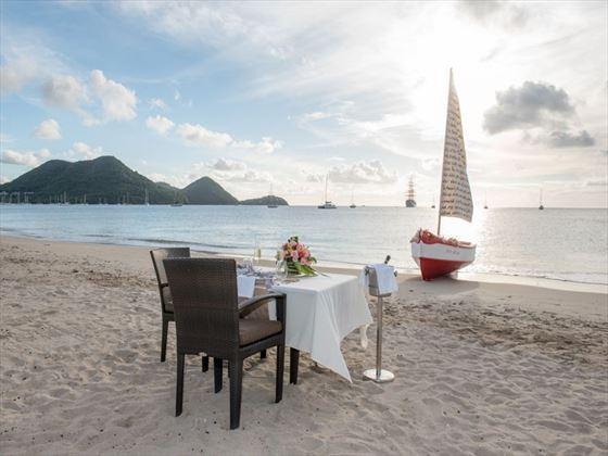 Romantic beach dinner at The Landings