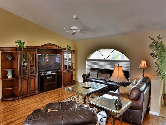 Living room at Fort Myers Area Pool Homes