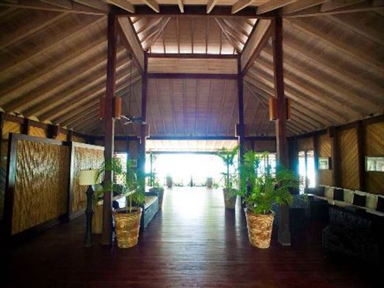 Lobby entrance to Hermitage Bay Hotel