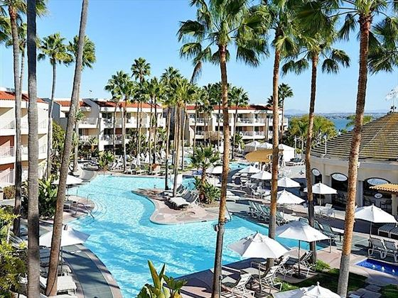 Palm-fringed pool at Loews Coronado Bay