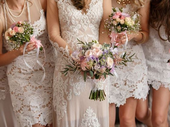 Bride and her bridesmaids at LUX* South Ari Atoll