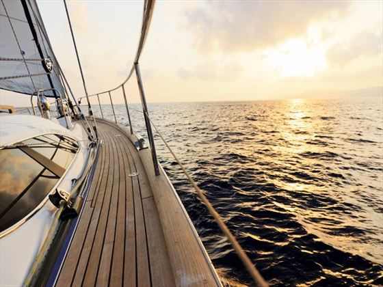 Book a boat trip at sunset for fantastic views on your luxury getaway