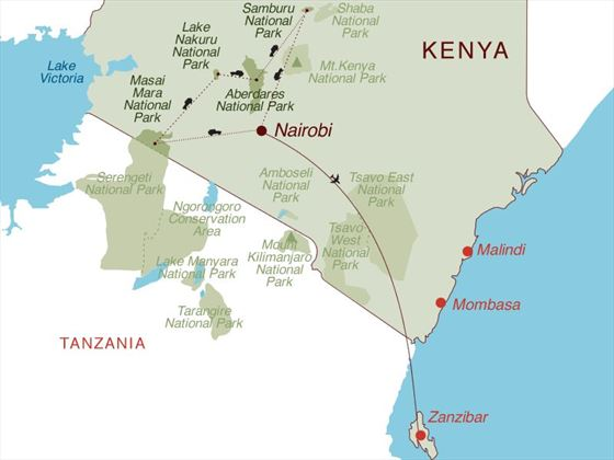Magical Kenya & Zanzibar Map