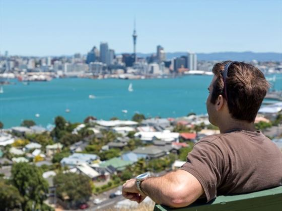 Man overlooking Auckland City