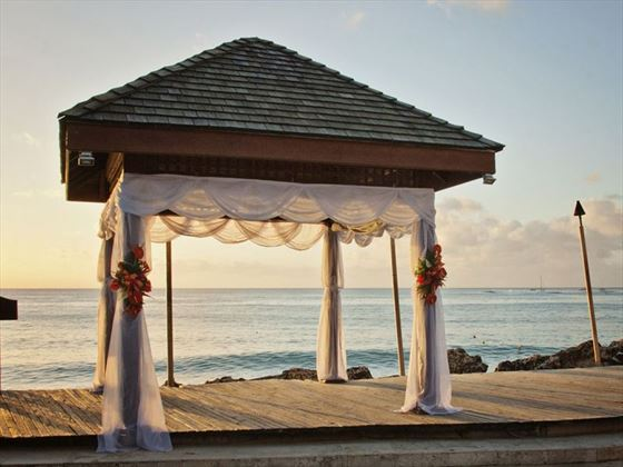 The wedding gazebo at sunset