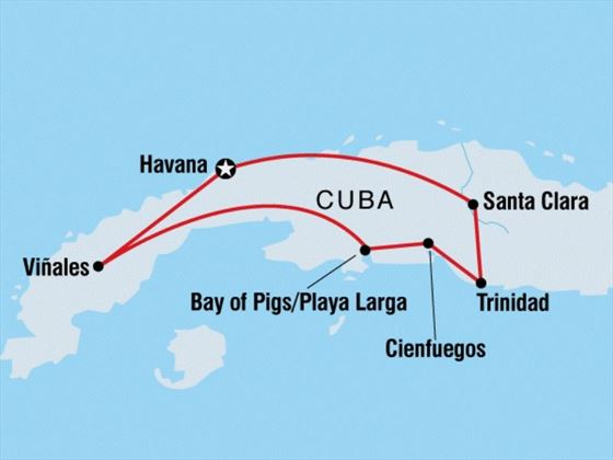 Map of Cuba Family Holiday tour