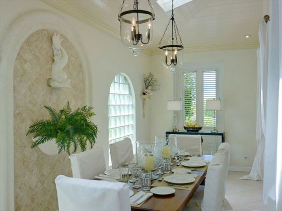 The cool and light dining area