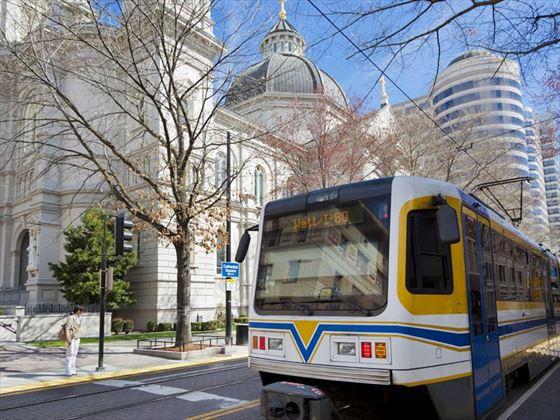 Modern light rail transportation in Sacramento