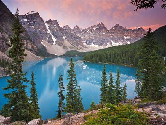 Alberta's Moraine Lake at dawn