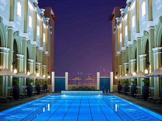 Movenpick IBN Battuta Gate pool at night