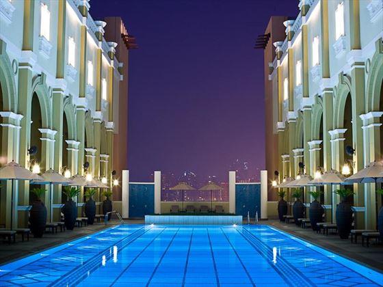 Movenpick IBN Battuta Gate pool at night