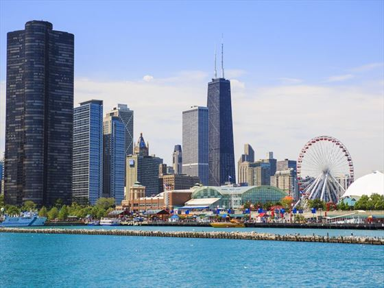 Navy Pier Park and Chicago skyline