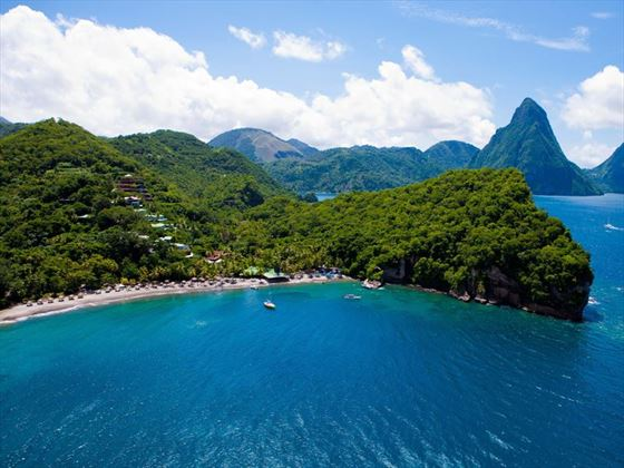 Ariel view of the stunning Jade Mountain