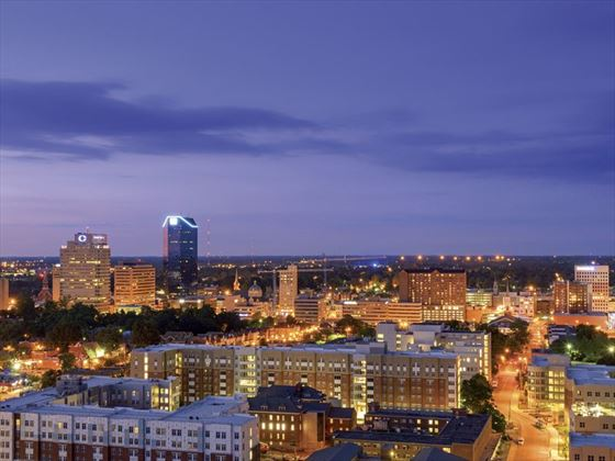 A view of Lexington skyline at night