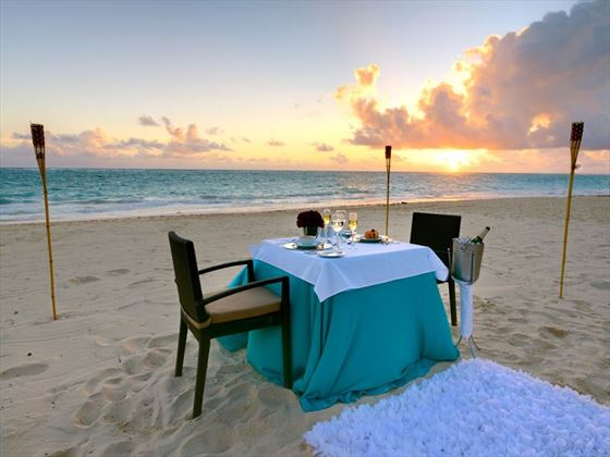 Romantic beach dinner at the Occidental Grand Punta Cana