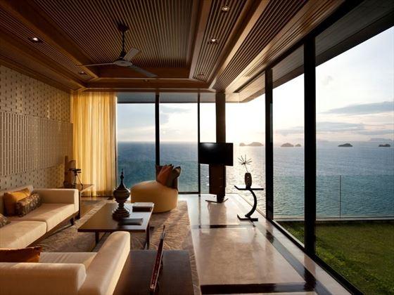 Oceanview Pool Villa living room
