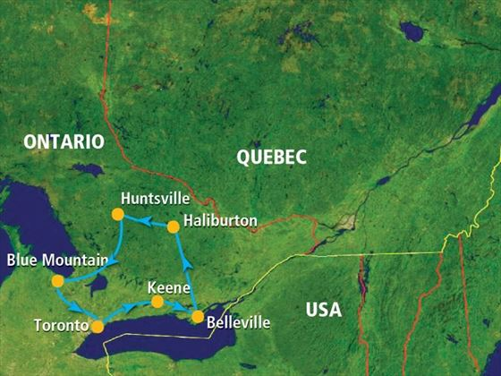 Map for the Natural Wonders of Ontario tour